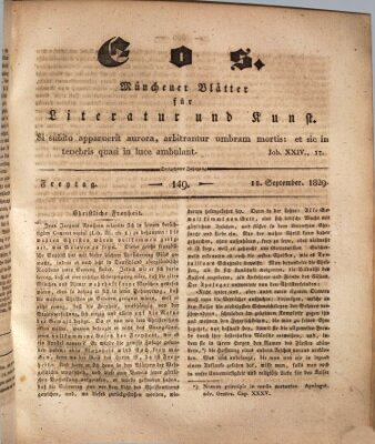 Eos Freitag 18. September 1829