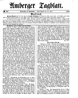 Amberger Tagblatt Donnerstag 11. September 1873