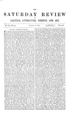 Saturday review Samstag 12. Oktober 1872