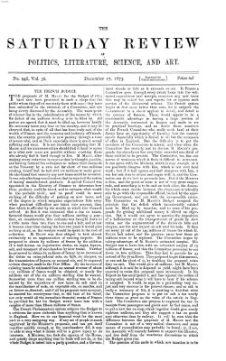 Saturday review Samstag 27. Dezember 1873