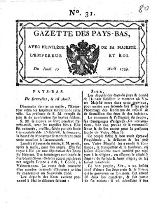 Gazette des Pays-Bas Donnerstag 17. April 1794