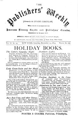 Publishers' weekly Samstag 13. Dezember 1873