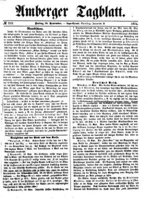 Amberger Tagblatt Freitag 18. September 1874