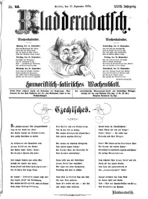 Kladderadatsch Sonntag 13. September 1874