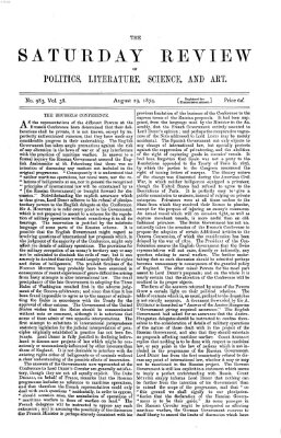 Saturday review Samstag 29. August 1874