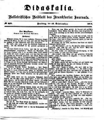 Didaskalia Freitag 18. September 1874