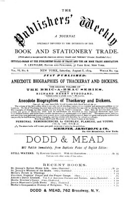 Publishers' weekly Samstag 8. August 1874