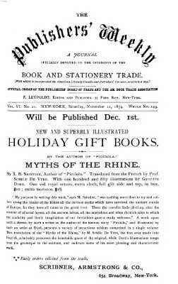 Publishers' weekly Samstag 21. November 1874