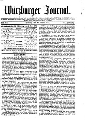 Würzburger Journal Dienstag 13. April 1875