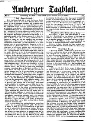 Amberger Tagblatt Donnerstag 15. April 1875