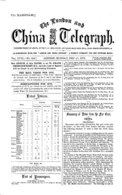 The London and China telegraph Montag 27. Dezember 1875