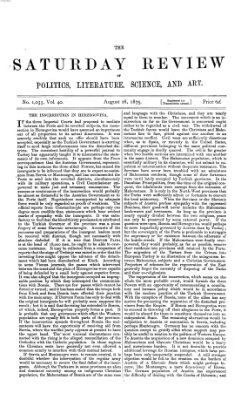 Saturday review Samstag 28. August 1875