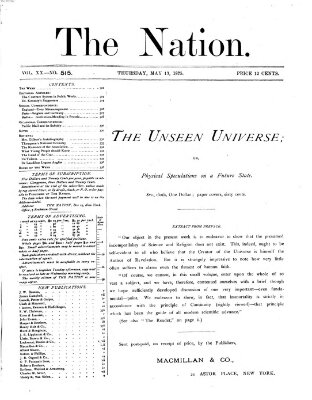 The nation Donnerstag 13. Mai 1875