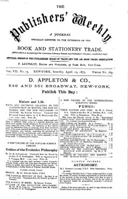 Publishers' weekly Samstag 10. April 1875
