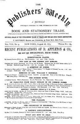 Publishers' weekly Samstag 28. August 1875