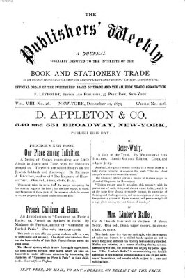 Publishers' weekly Samstag 25. Dezember 1875