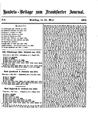 Frankfurter Journal Samstag 20. Mai 1876
