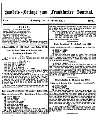 Frankfurter Journal Samstag 16. September 1876